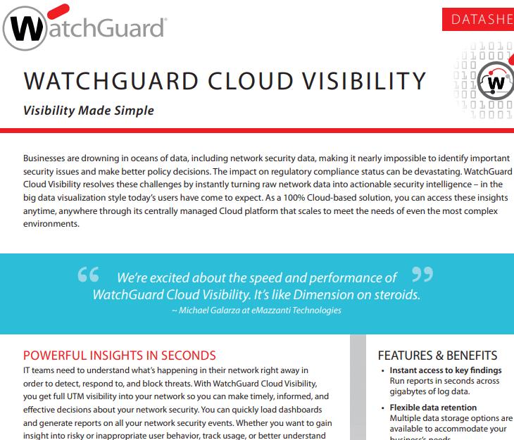 Datasheet: WatchGuard Cloud Visibility