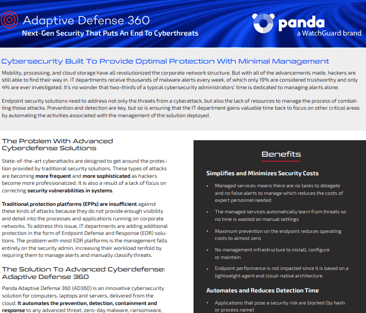 watchguard Datasheet Panda's Adaptive Defense 360 (AD360)