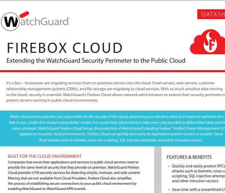 WatchGuard  Firebox Cloud Datasheet
