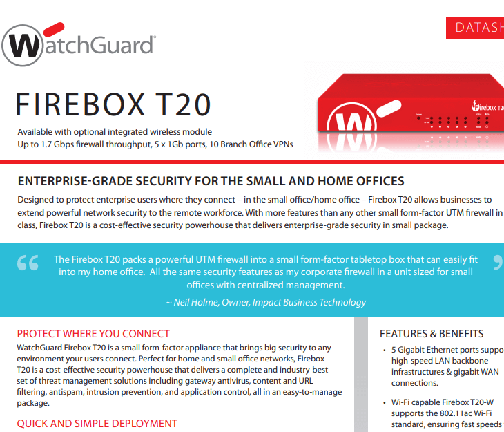 WatchGuard Firebox T20 Datasheet