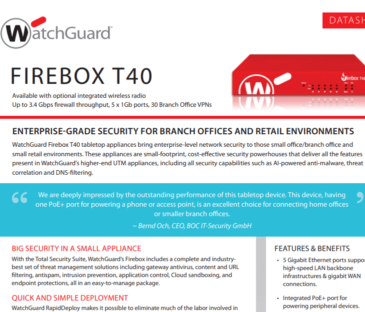 WatchGuard Firebox T40 Datasheet