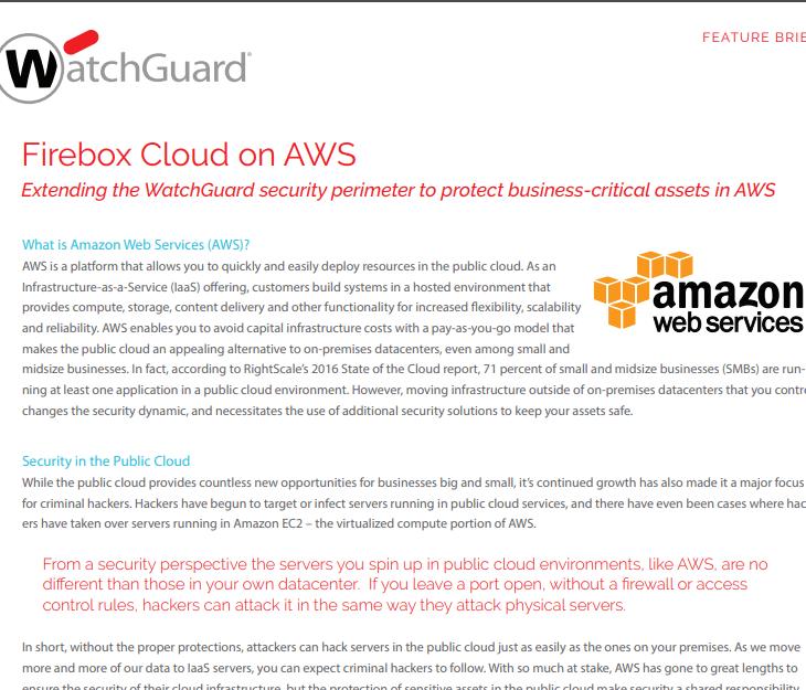 WatchGuard Firebox Cloud on AWS