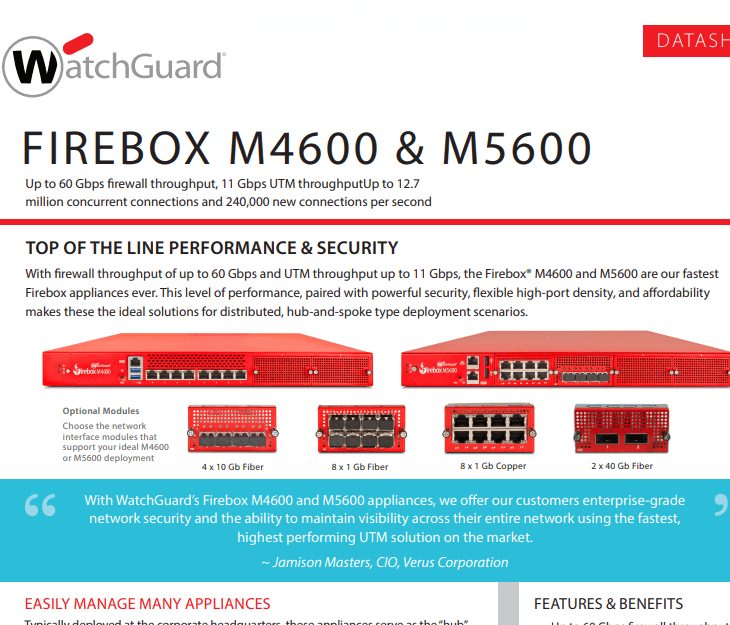 WatchGuard  Firebox M4600 and M5600 Datasheet