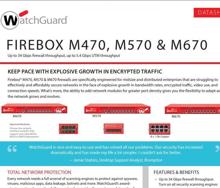 WatchGuard Firebox M470, M570 and M670 Datasheet