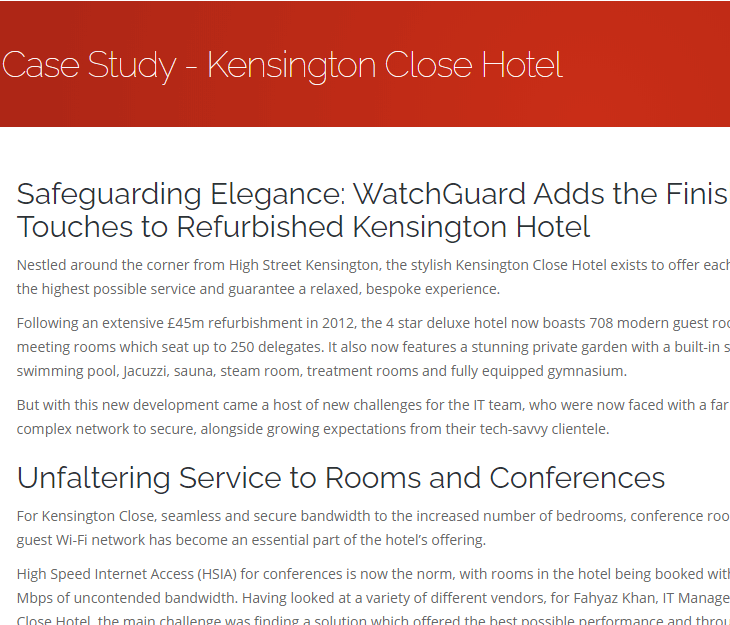 Case Study: Kensington Close Hotel