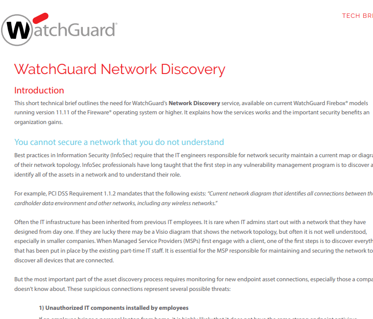 Watchguard Brief Network Discovery