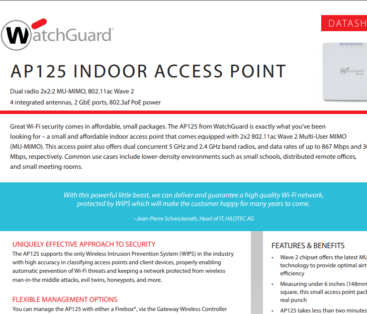 WatchGuard AP125 Datasheet