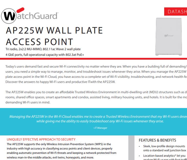 WatchGuard AP225W Datasheet