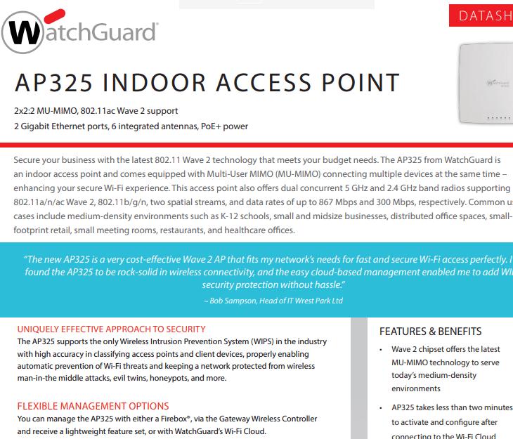 WatchGuard AP325 Datasheet