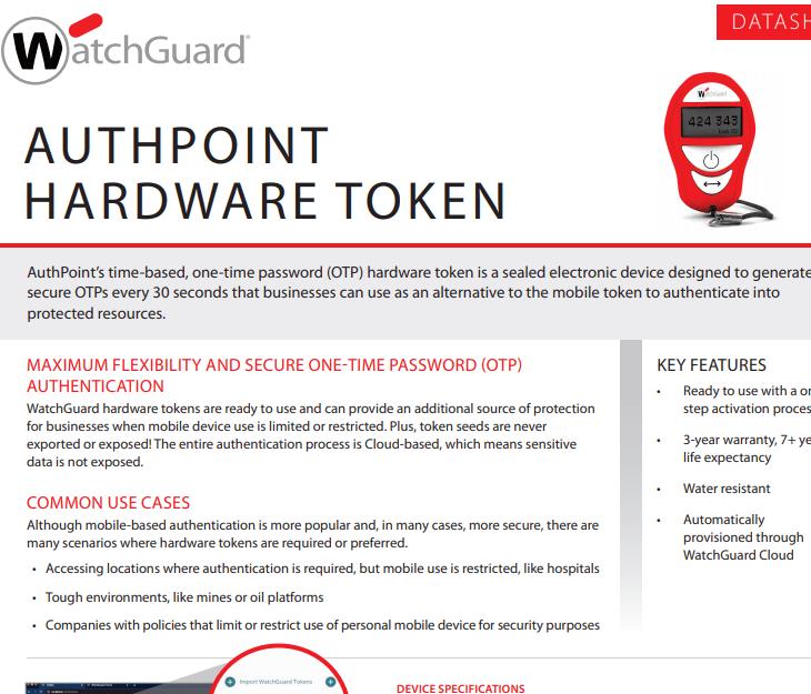 WatchguardFirewall Authpoint Hardware Token