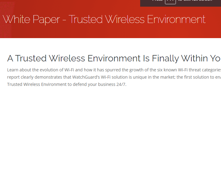 WatchGuard Trusted Wireless Environment