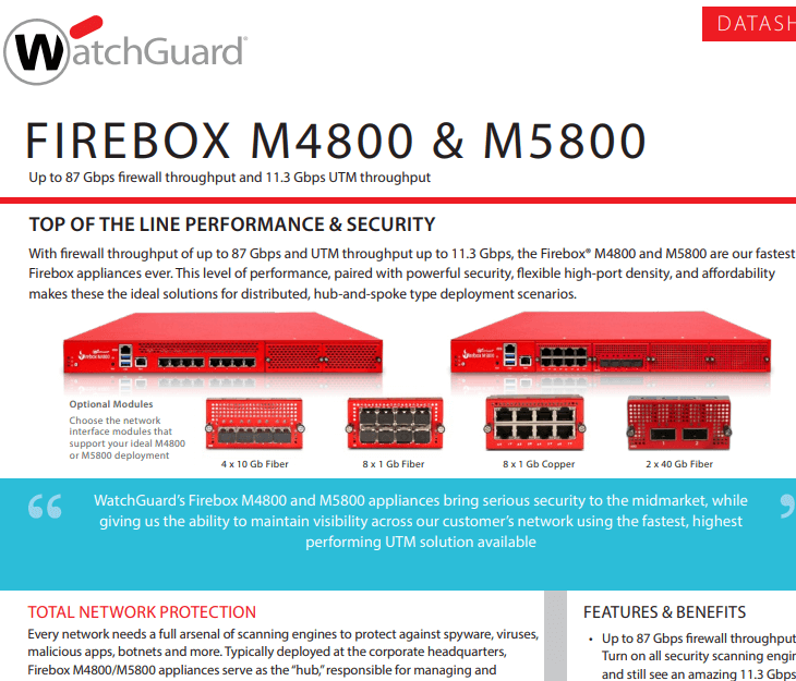WatchGuard Firebox M4800 and M5800 Datasheet